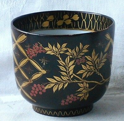 C19Th Chinese Hand Painted And Gilded Pottery Cup With A Dark Brown Ground