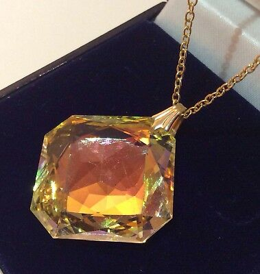 Vintage Art Deco Jewellery Stunning Champagne Glass Crystal Pendant Necklace