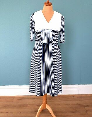 Vintage 80's Blue White Striped Midi Dress Retro Boho 14