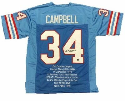 EARL CAMPBELL HOUSTON Oilers Signed Autograph Blue Football Jersey ... 44f8e1f0d