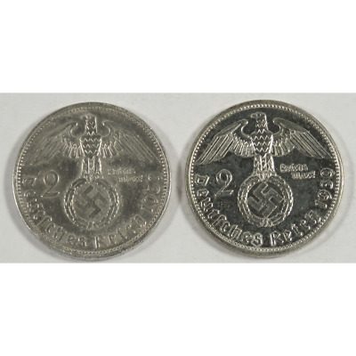Lot of 2 - 1939-A Nazi Germany Silver 2 Reichsmarks 0.1607 oz