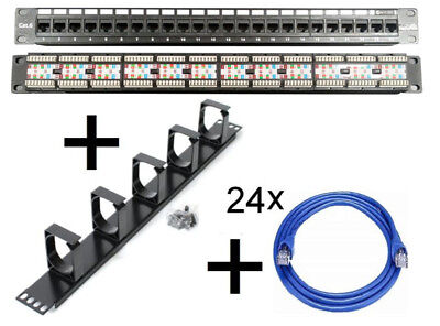 24 Port Patch CAT6 Panel+1U Cable Rackmount Manager +24x 2m CAT-6 Cables Network