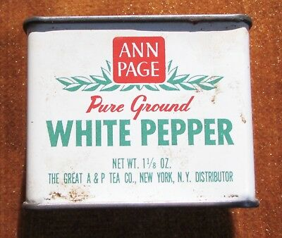 Vintage Ann Page White Pepper Advertising Kitchen Spice Tin White Green Red