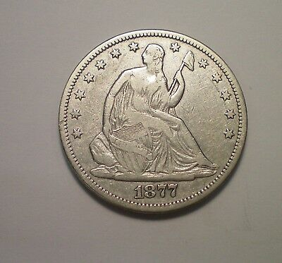 1877 Cc Seated Liberty Half Dollar Fine