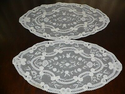 Pair of Antique Princess Lace Doilies , Oval 18 X 9 inches
