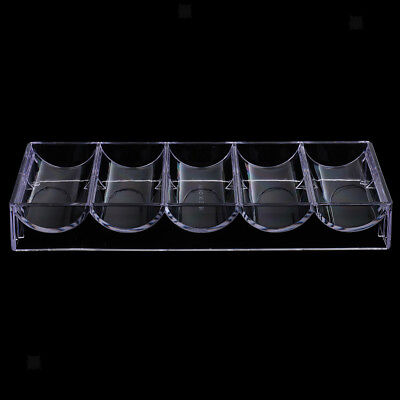 Acrylic Poker Chips Tray Box w/ Lid 100 Chips Professional Casino Game Props