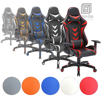 High-Back Ergonomic Swivel Gaming Chair Racing With Lumbar Support & Headrest