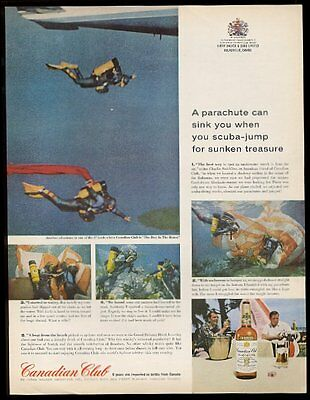 1963 Canadian Club sky diving scuba diver treasure hunter 5 photo print ad