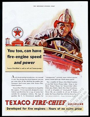 1932 Texaco oil gas fireman fire fighter driving truck vintage print ad