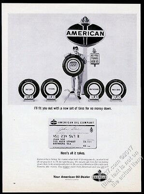 1965 American Oil gas station attendant tires credit card photo vintage print ad