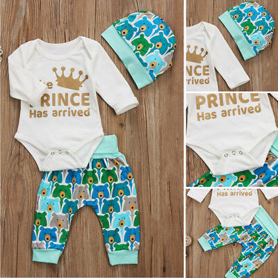 Newborn Kids Baby Boys Girls Long Sleeve Tops Romper Pants Outfits Set Clothes