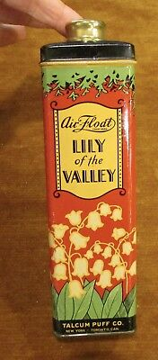 Vintage Air Float Lily of The Valley Talcum Puff Tin 6 OZ 1/2 Full Art Deco