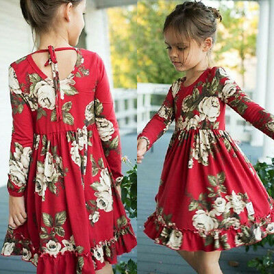 Toddler Baby Kids Girls Long Sleeve Flower Party Dress Sundress Clothes 1-6Yrs