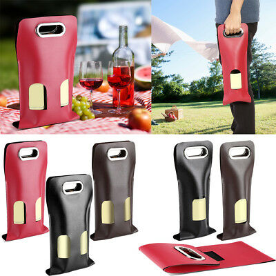 Portable PU Leather Wine Bottle Carrier Tote Bag Wedding Gift Bags Decoration DY
