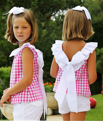 Summer Toddler Kids Girls Bow Plaid T-shirt Tops Short Pants Clothes Outfits Set