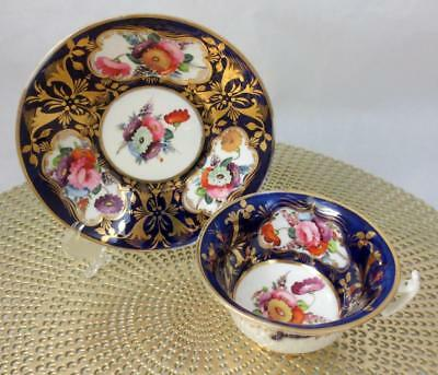 Antique 19th c. COALPORT Hand Painted COBALT & GOLD with FLORALS CUP & SAUCER