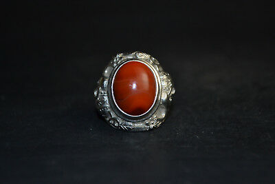 Collectible Tibet Silver Old Handicraft Carved Elephant Inlay Red Agate Ring