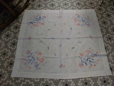 Vintage White Linen Tablecloth w Beautiful Pink & Blue Floral Embroidery 42 x 44