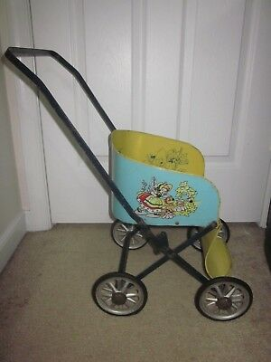 """Vintage 1940s Antique 23"""" tall baby doll stroller foldable collapsable metal"""