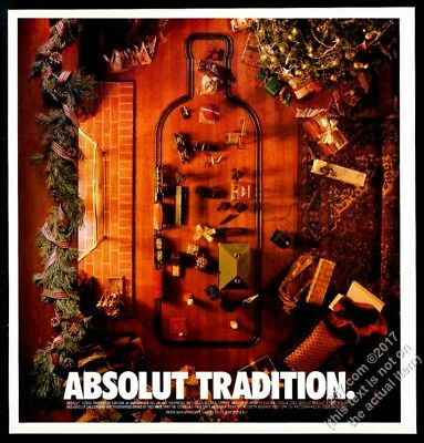 1995 Absolut Tradition Xmas toy train set vodka bottle thicker vintage print ad