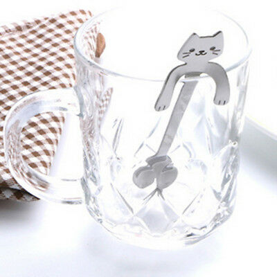 Sliver Cat Stainless Steel Ice Cream Coffee Teaspoon Hanging Spoon Home Kitchen