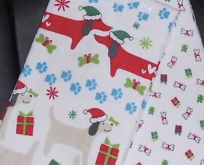 Set of 2 HOLIDAY Kitchen Hand Dish Towels Christmas DACHSHUND Puppies DOGS  New