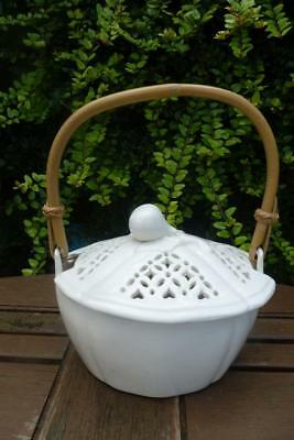 Vintage Leeds Pottery Creamware Pierced Work Cane Handle  Butter Dish