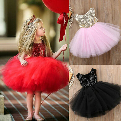 Sequins Kids Baby Flower Girl Dress Tutu Party Dress Wedding Bridesmaid Dresses
