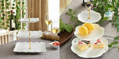 Retro 3 Tier Afternoon Tea Dessert Cake Fruit Stand Plate Wedding Round Tray Dec