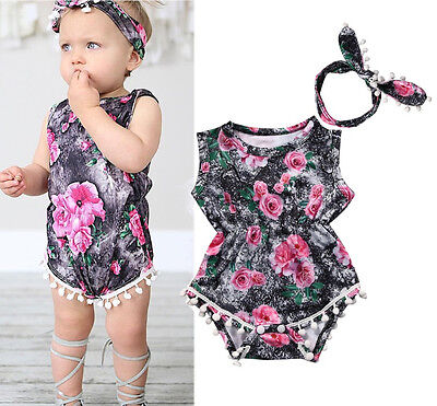 Cute Newborn Baby Girls Floral Bodysuit Sleeveless Romper Summer Clothes Outfits