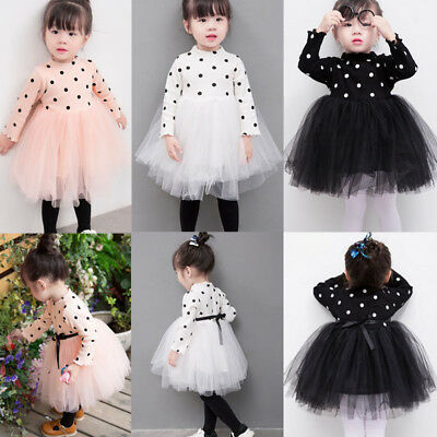 New Newborn Kids Baby Girls Long Sleeve Knitting Skirt Dot Lace Tutu Tulle Dress