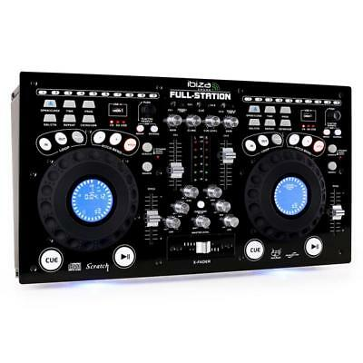 Ibiza Pro Dual Dj Controller Cd Player 2-Channel Mixing Usb Sd Mp3 System