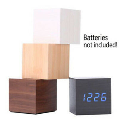 Modern Wooden Wood USB/AAA Digital LED Alarm Clock Thermometer Timer Calendar W