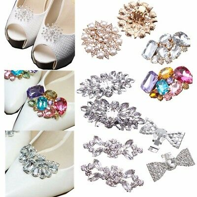 2PCS Bridal Prom Charm Crystal Shoe Clips Jibbit Buckle Shoes Removable 8 Types