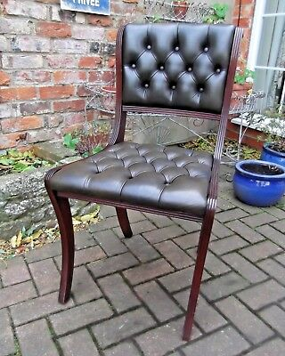 Regency Style Buttoned Chesterfield Green Leather Desk Chair~Library~2 Of 2