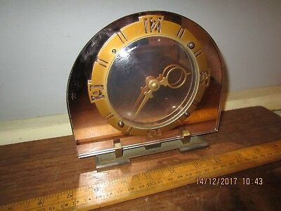 30s Art Deco Mantel Clock with Mirror face in VGC.Hand wind movement -Gt.Britain