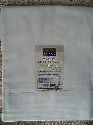 """NOS~VINTAGE PENNYS IVORY MUSLIN DOUBLE BED SHEET 81"""" x 108"""" ~ SUPERIOR MUSLIN"""