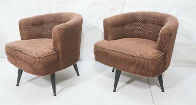 SUPER Pair of Mid Century Style Barrel Back / Club Swivel Chairs GREYHOUND SHIP