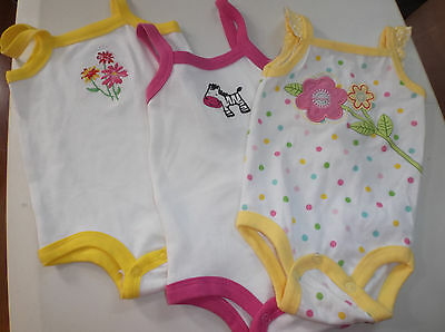 Infant Girls 3 - 6 Months Body Suits Rompers One Piece Zebra Flowers New Cute