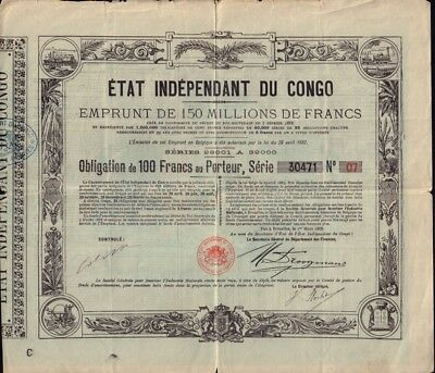 Etat Independent du Congo 1888 State / Government Bond 100 Francs