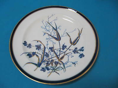 Victorian George Jones Gold & Blue Hand Decorated Floral Plate