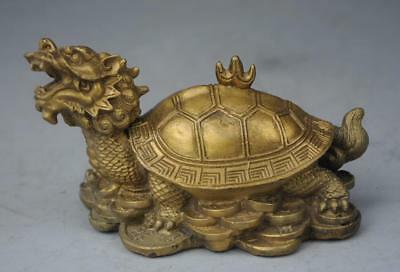Chinese Fengshui Pure Brass Wealth Dragon Tortoise Turtle Money statue