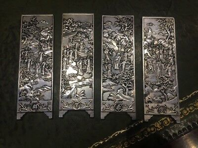 Antique Chinese Scroll Manuscript Weight set of four with figures Zu Yin mark