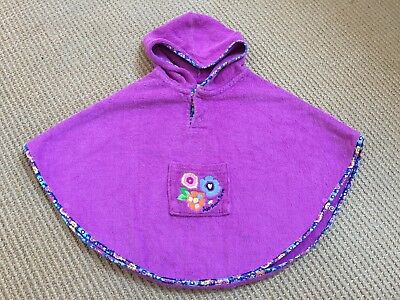 JoJo Maman Bebe Pink Hooded Towelling Poncho Cover up for Pool /Beach 0-2 years