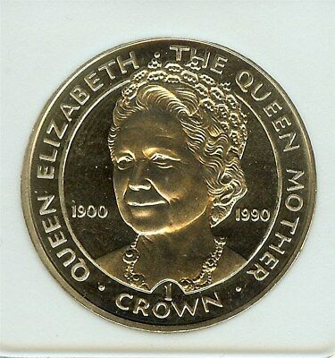 Gibraltar 1990 Crown -Queen Mother- Near Perfect Proof Cameo Km#46