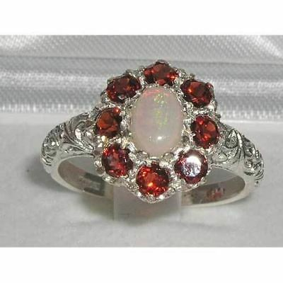 Solid English Sterling Silver Ladies Large Opal & Garnet Art Nouveau  Ring