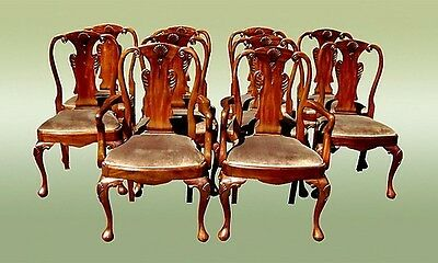 Quality solid Mahogan SET of  Twelve Queen Anne chairs