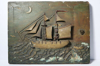 ANTIQUE 19THC FOLK ART CARVED WOODEN SCHOONER SHIP DIORAMA w BLACK FIGURE SAILOR