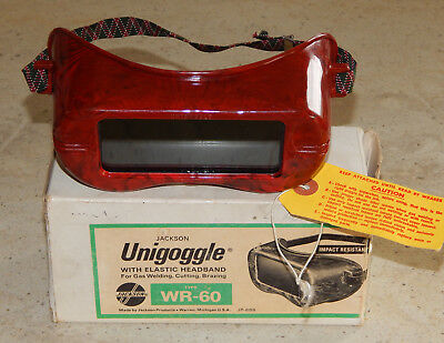 Vintage Jackson WR-60 Unigoggle Safety Glasses Red Marbled Welding Goggles w Box