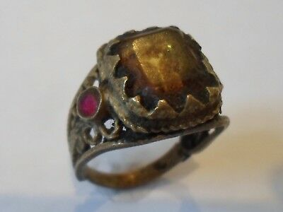 X-Mas Gifts/ Offers, Unknown Ae Ring With  Glass /stones. Detector Find.